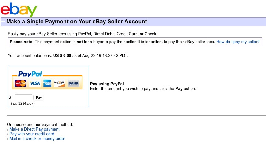 eBay Make Single Fee Payment