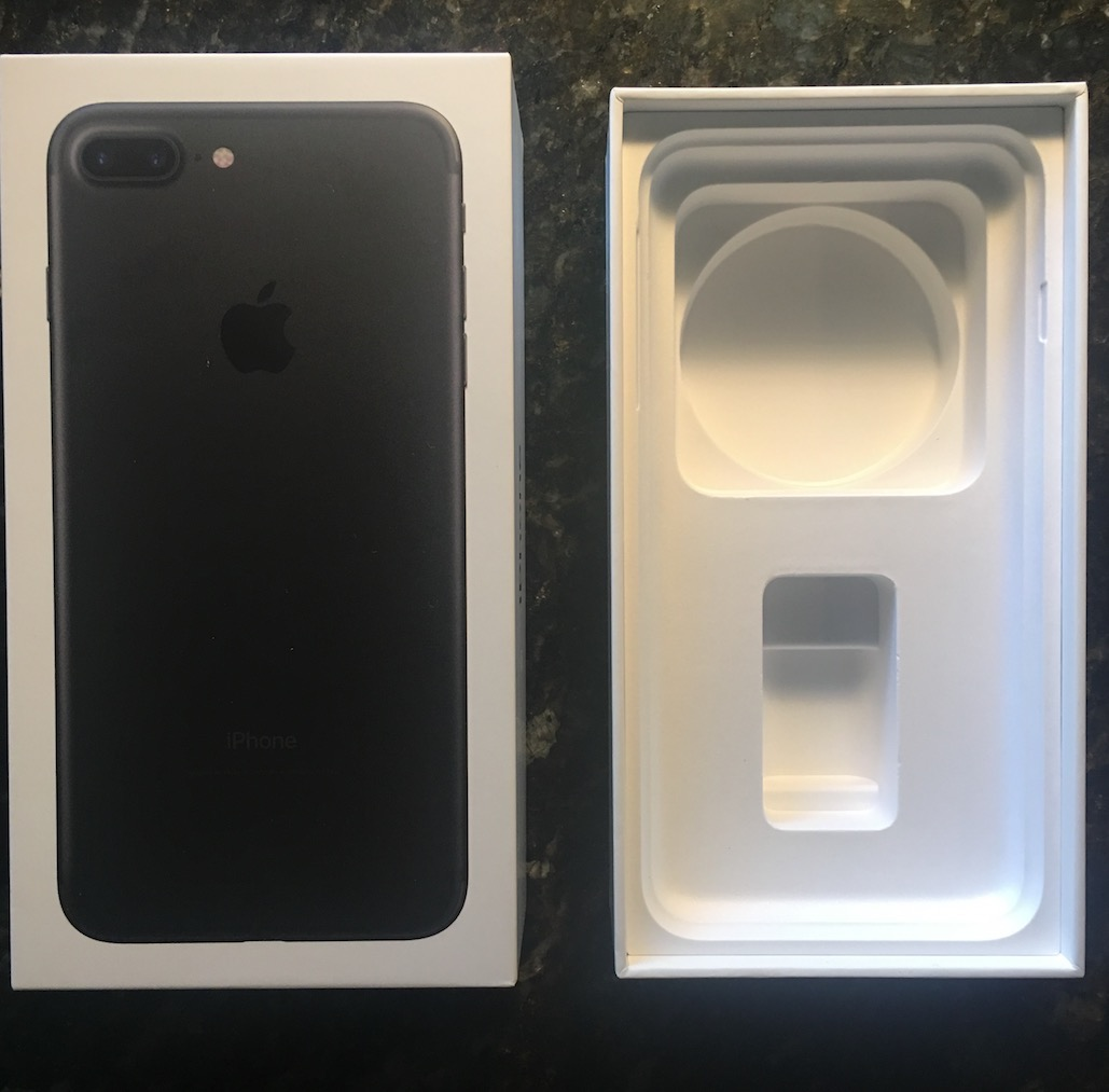 iPhone 7 Plus Black Unboxing Box Open Inside Empty