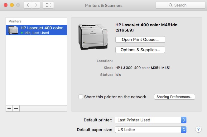 Mac Added Printer