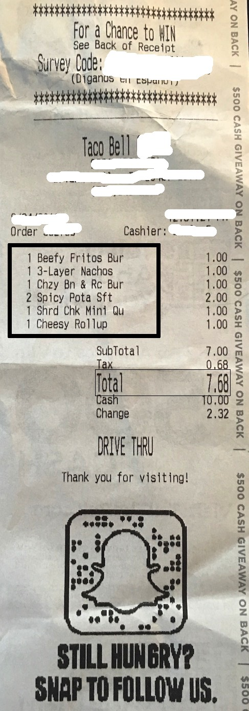 Taco Bell Dollar Menu Receipt