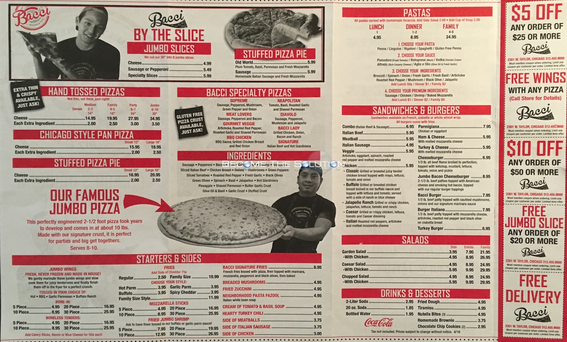 Bacci carry out menu chicago scanned menu with prices for Carryout menu