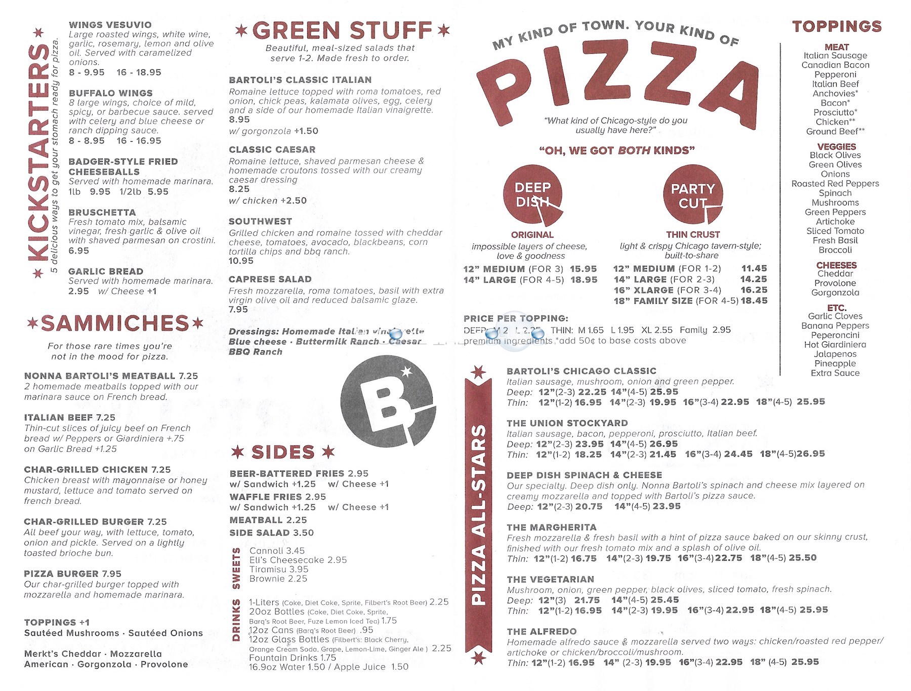 Bartoli's pizza chicago menu 1
