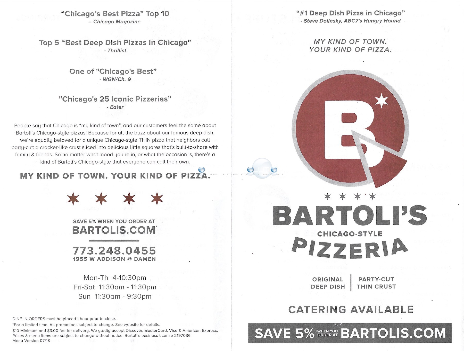 Bartoli's pizza chicago menu 2