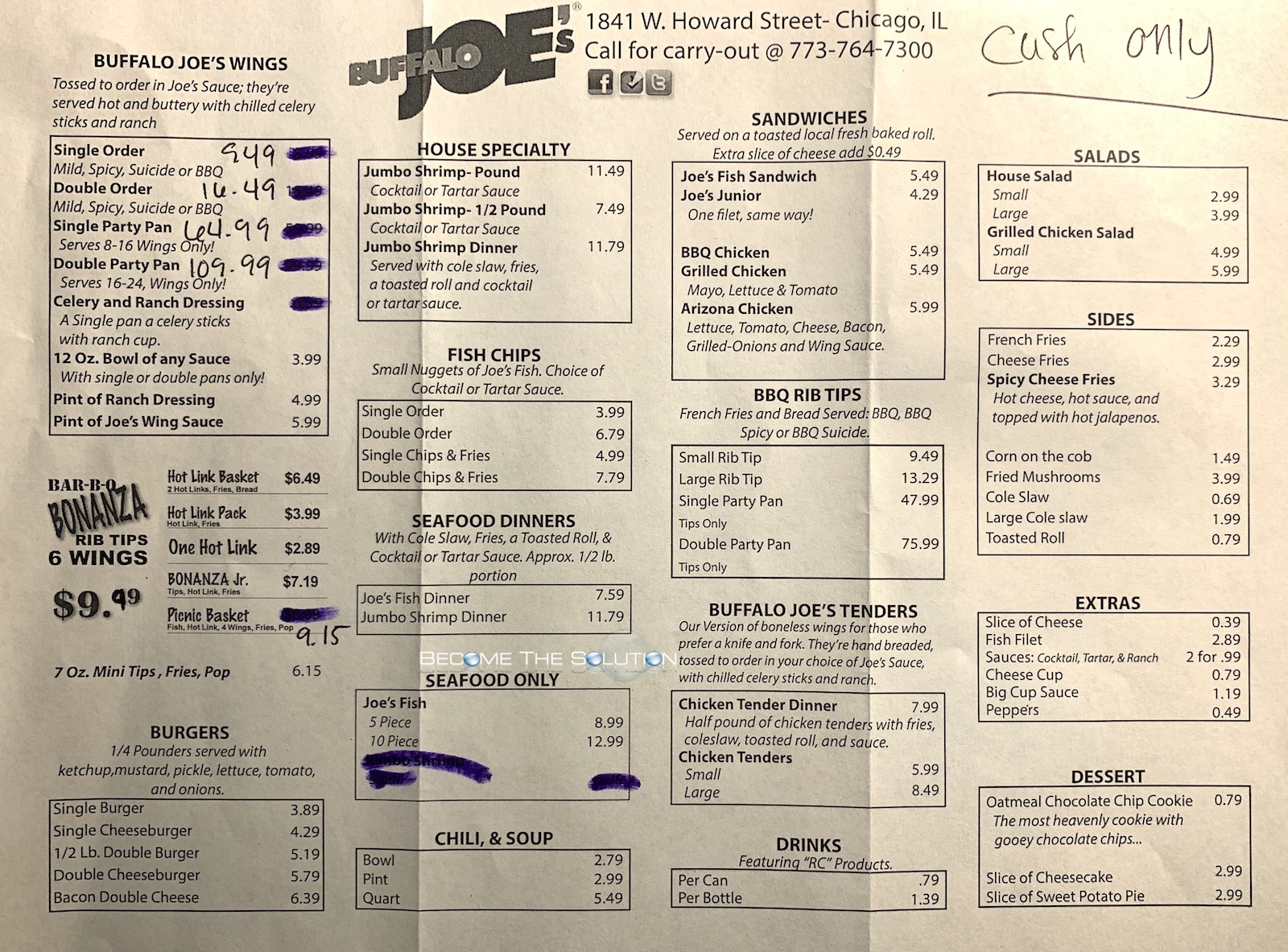Buffalo joe's howard street chicago menu 1