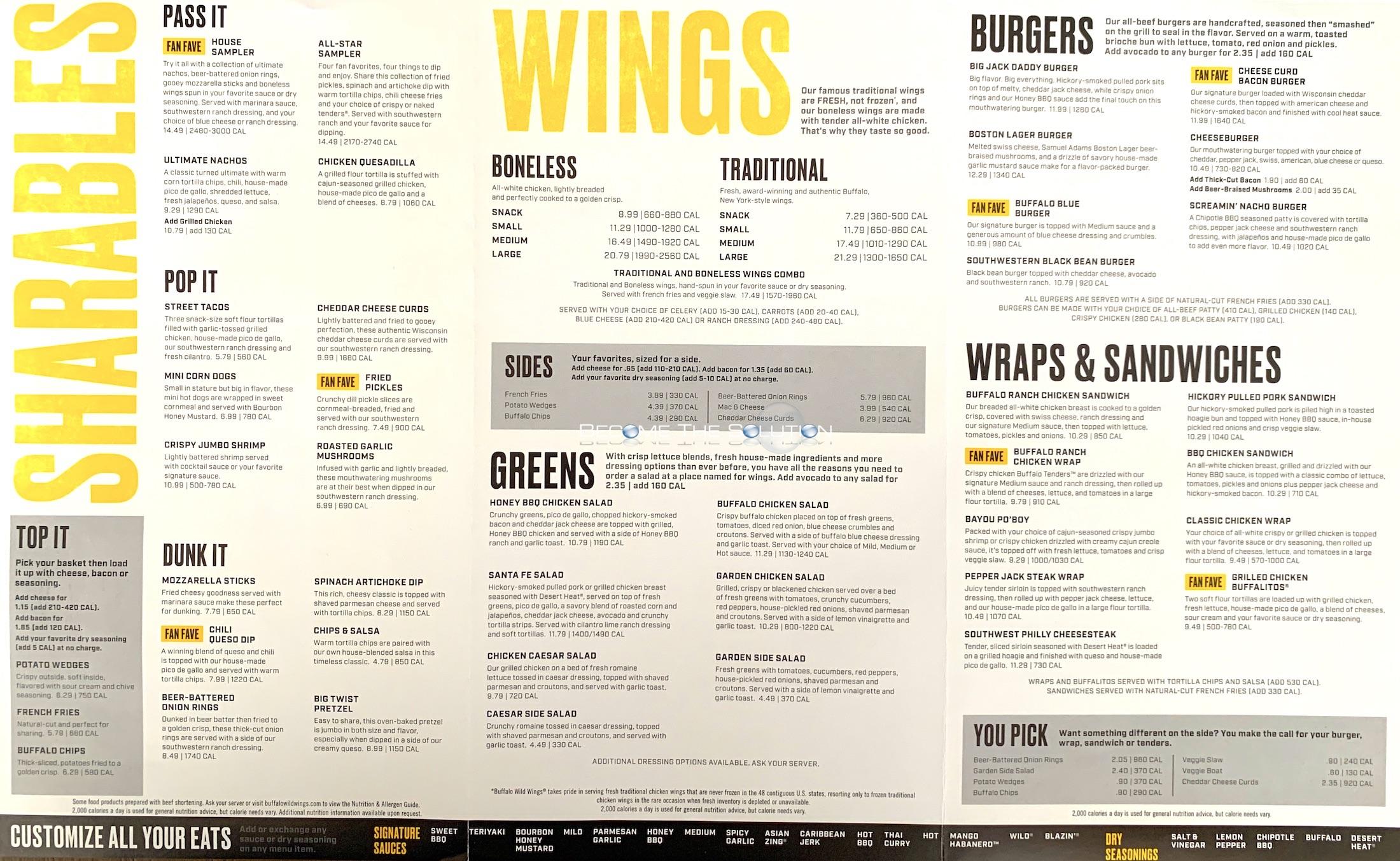 picture relating to Buffalo Wild Wings Printable Menu identify Buffalo wing menu