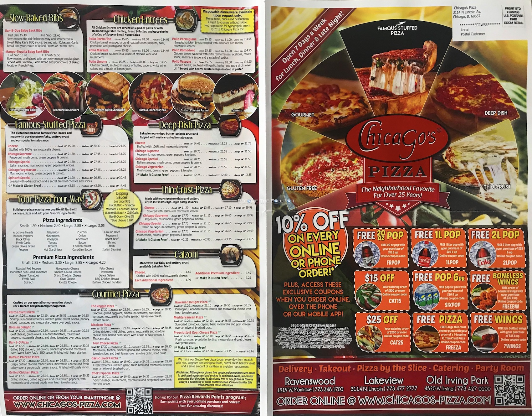 Chicago's pizza menu 1
