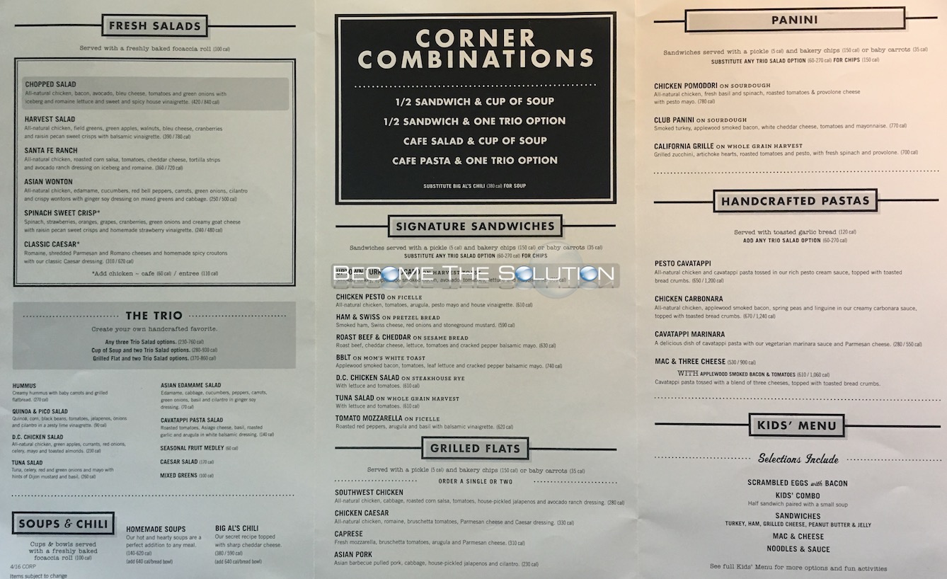 Corner Bakery Carry Out Chicago Menu