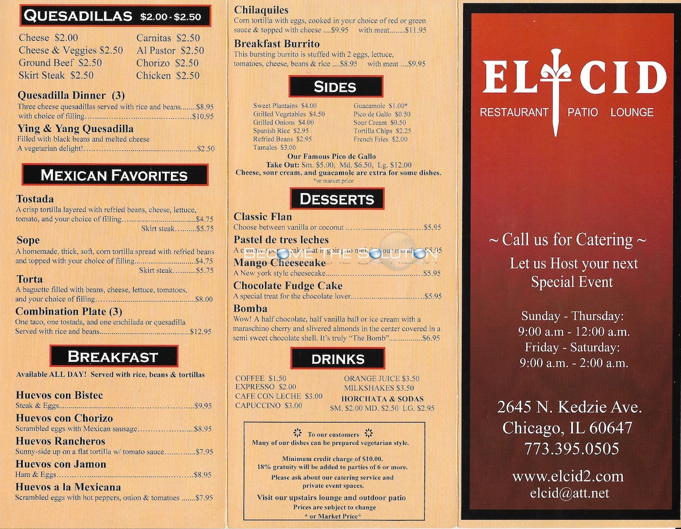El cid chicago menu 1