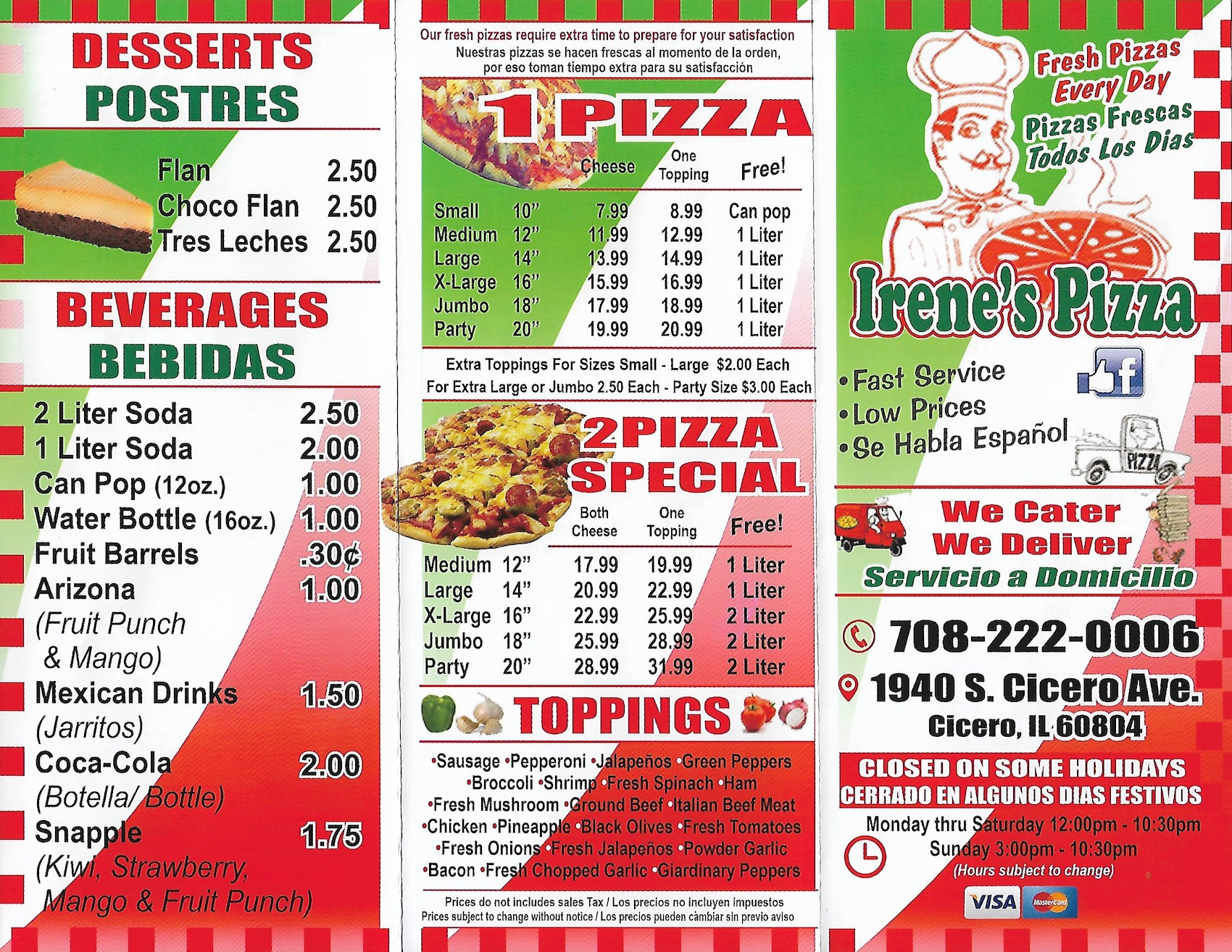 Irene 39 s pizza carry out menu cicero scanned menu with prices for Carryout menu