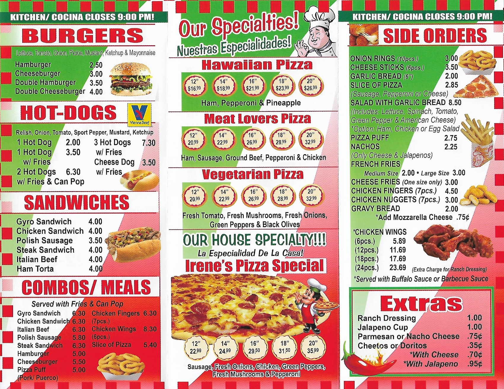 Menus De Cocina | Irene S Pizza Carry Out Menu Cicero Scanned Menu With Prices