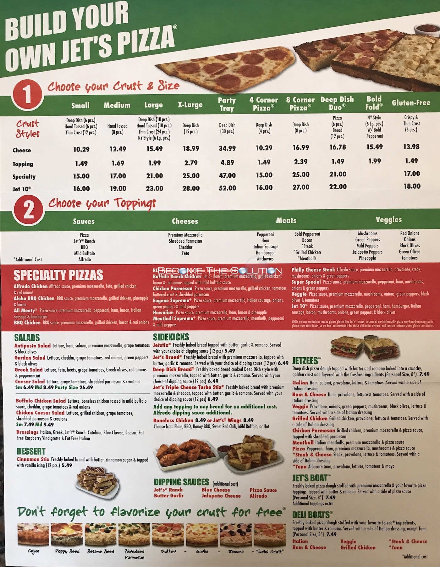 jet's pizza chicago carry out menu (scanned menu with prices)