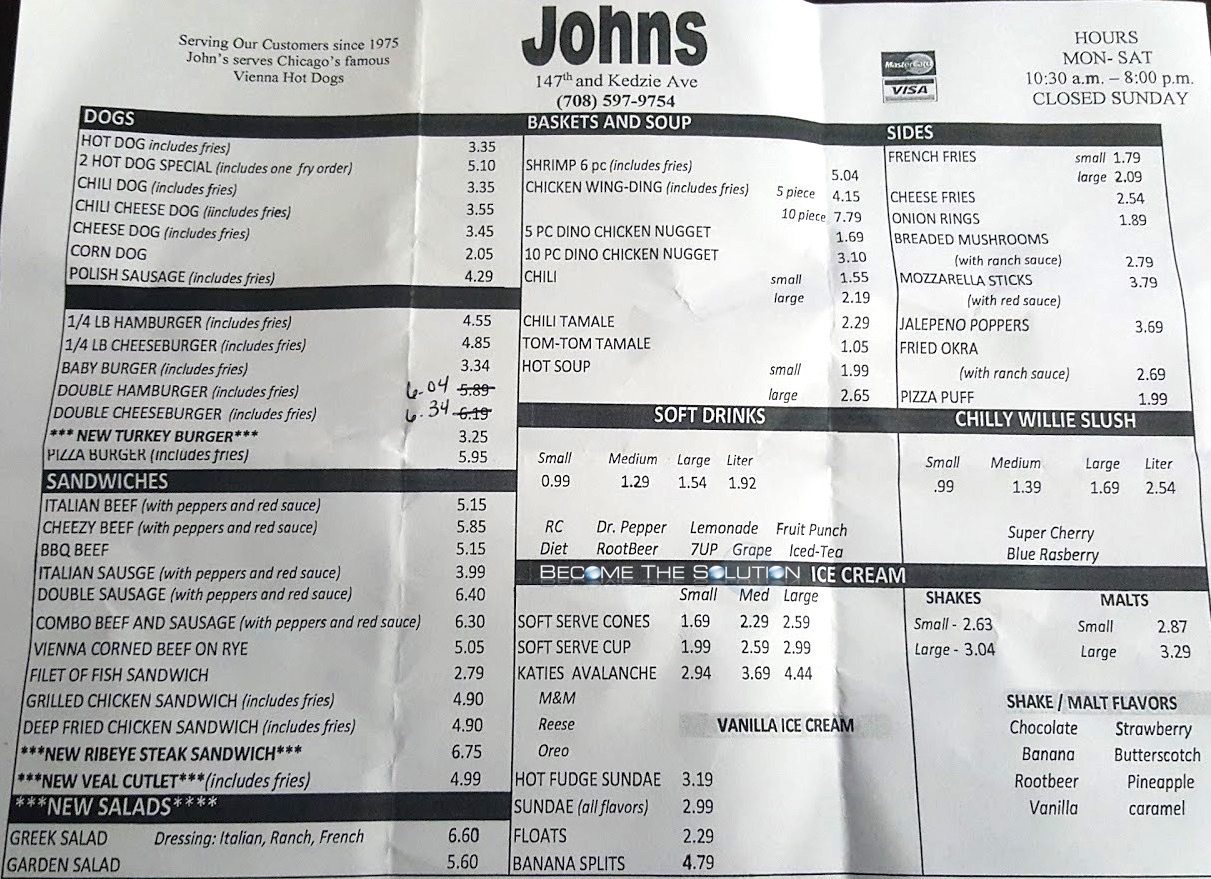 John's hot dogs midlothian illinois menu 1