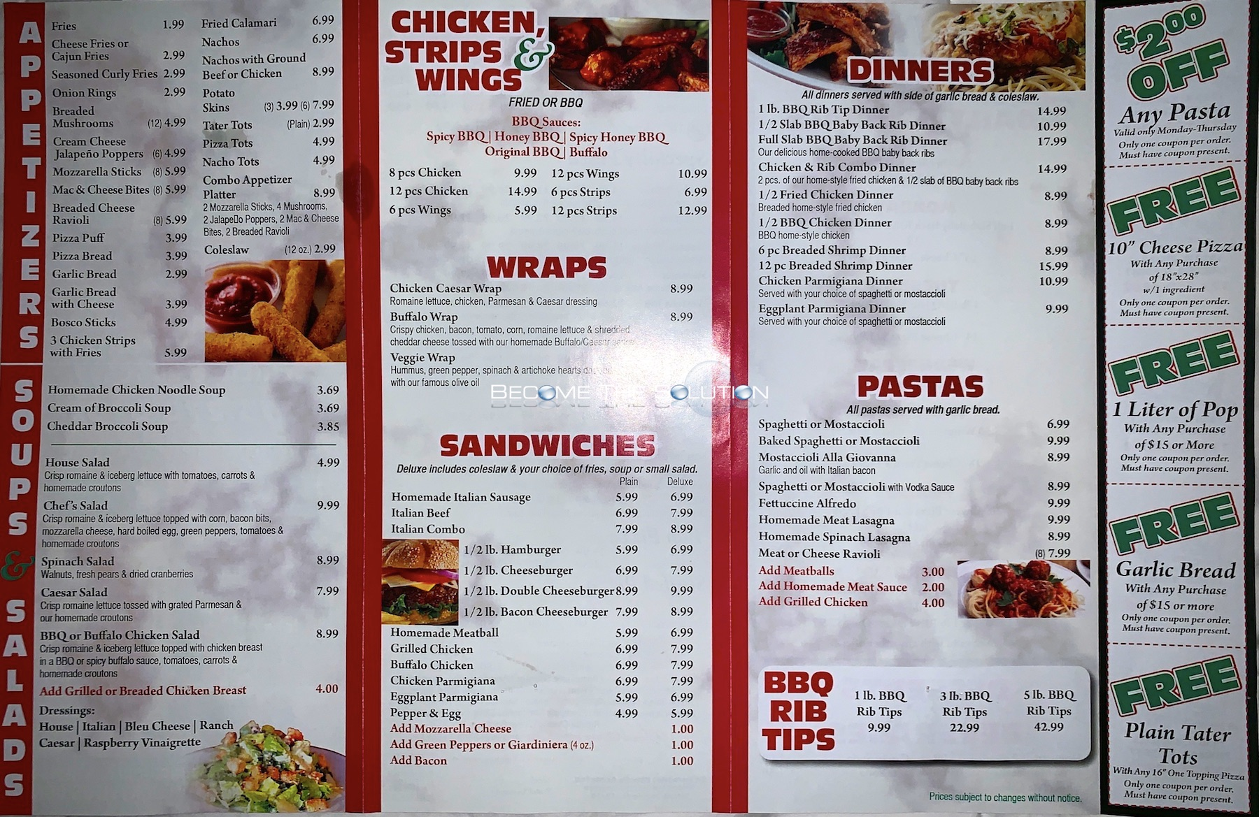 Lucky vitos pizza chicago menu 2