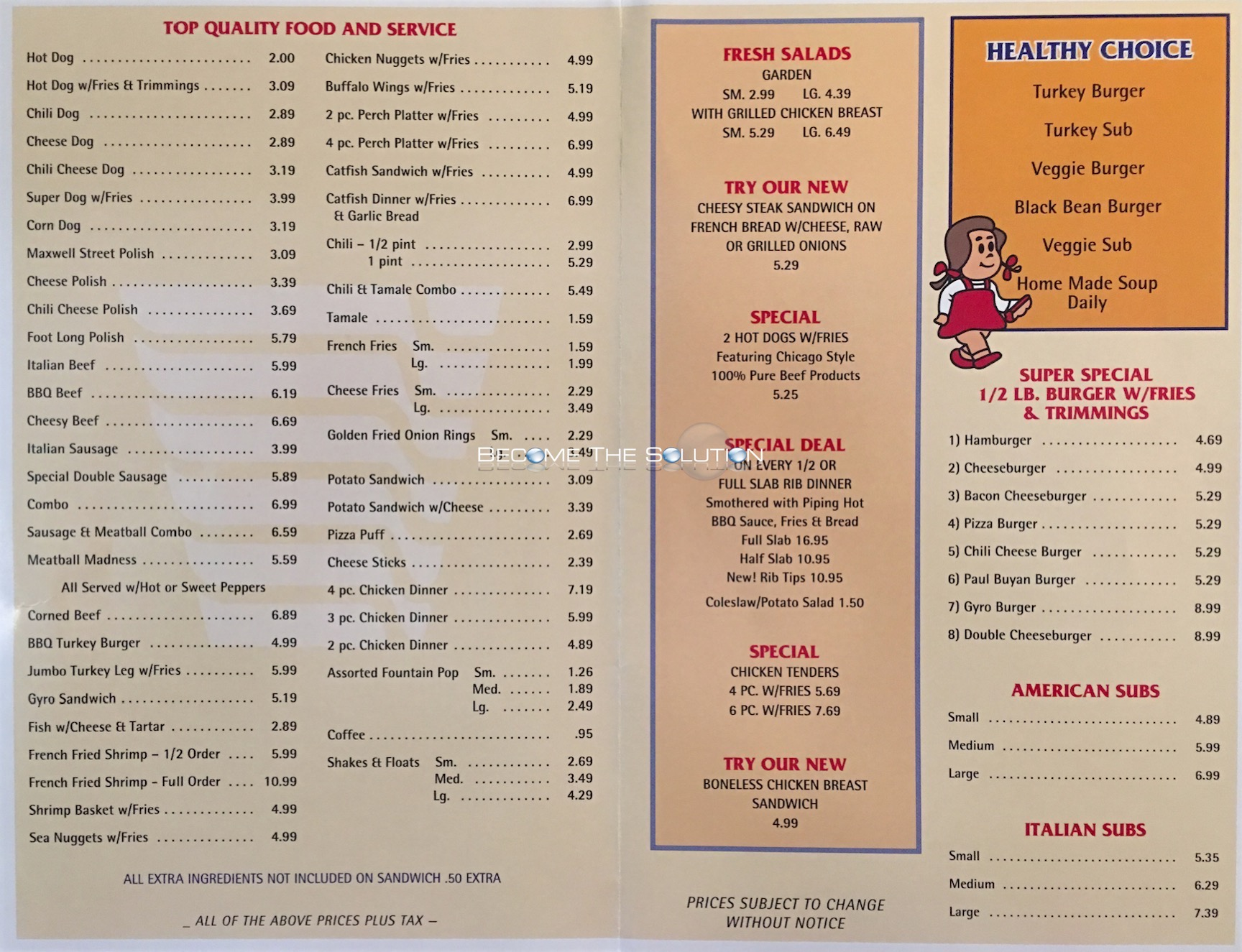Lulu 39 s hot dogs carry out menu chicago scanned menu with for Carryout menu