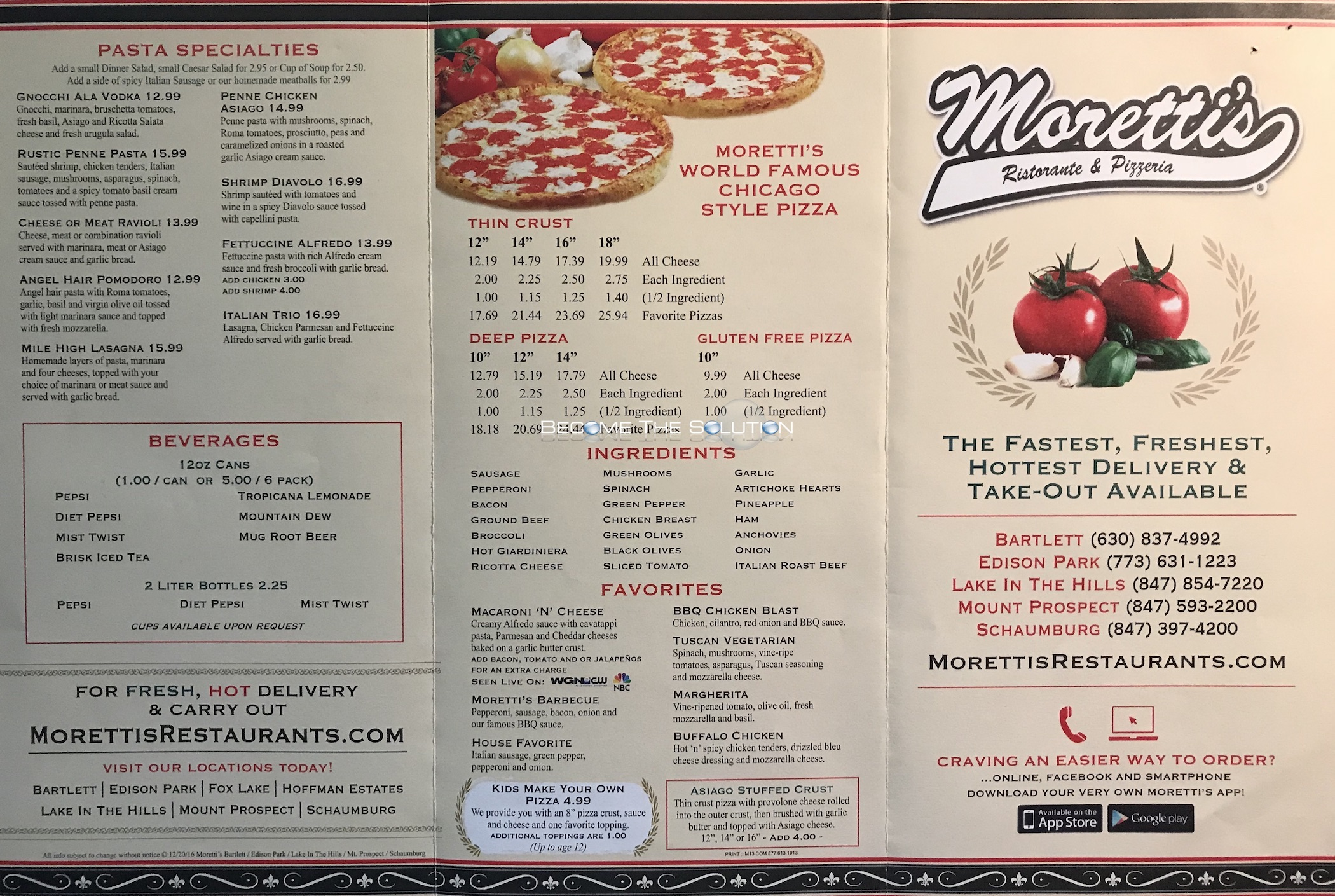 Moretti S Pizza Menu Scanned Menu With Prices