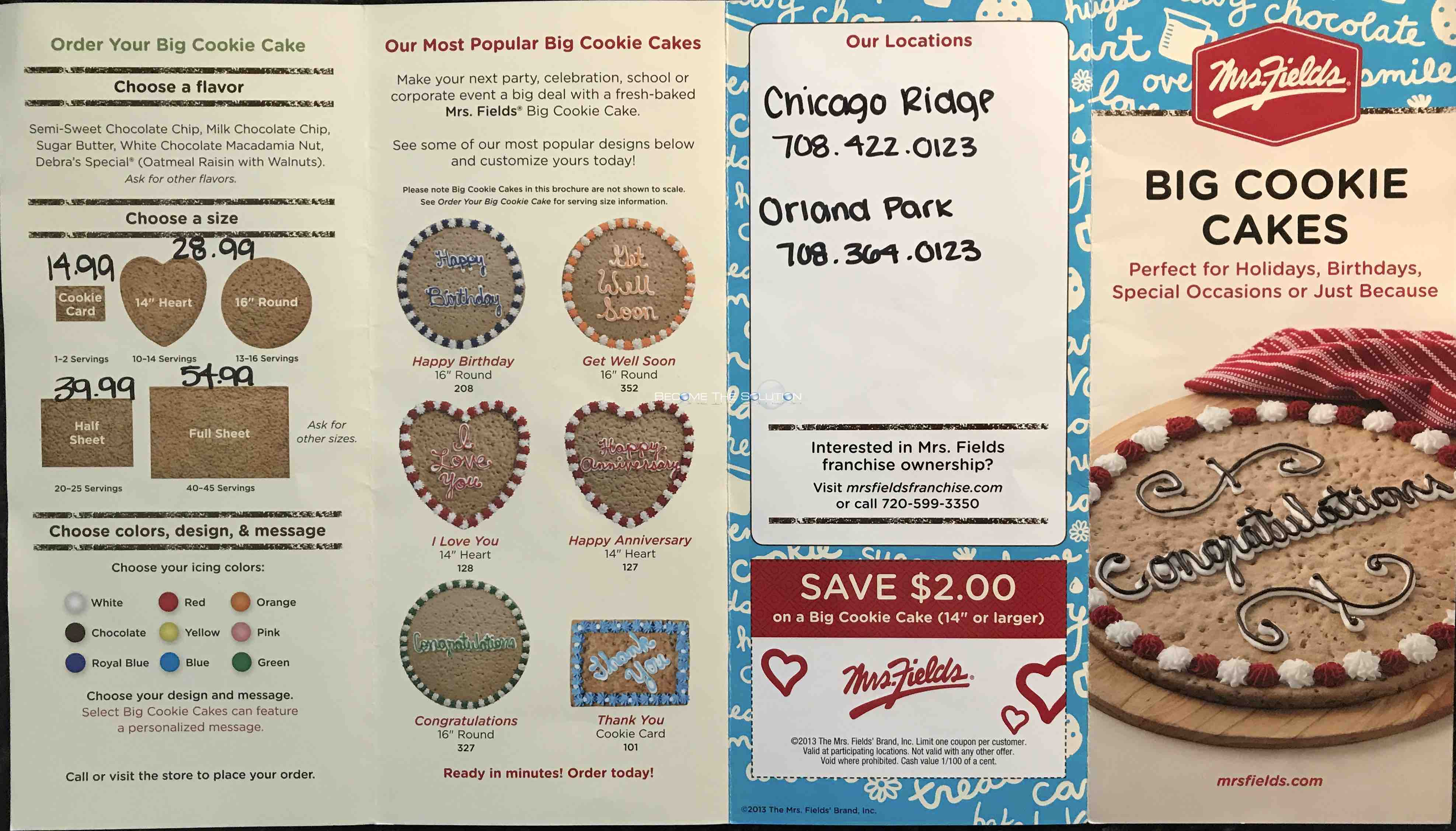 Mrs Fields Cookies Carry Out Menu 1