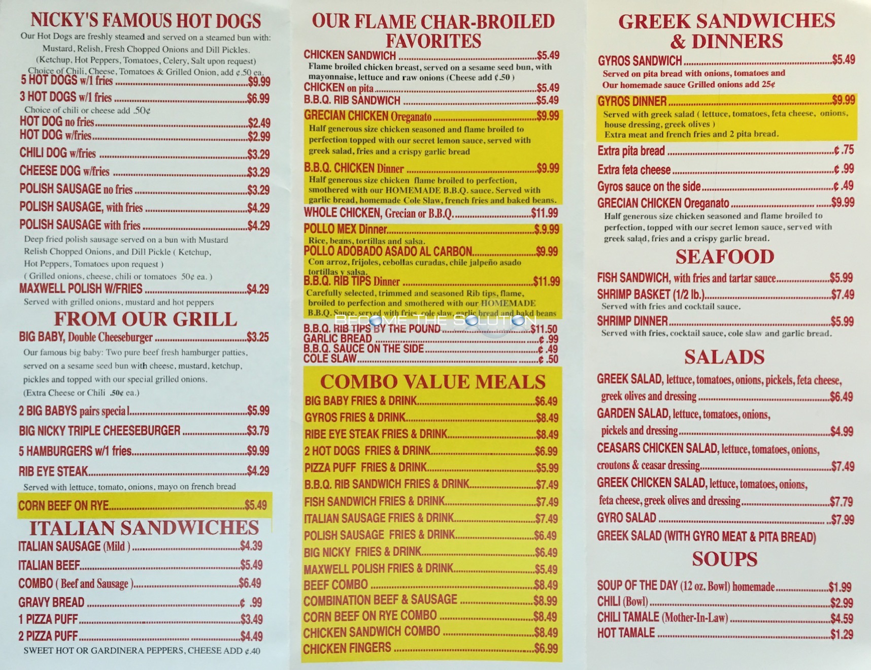 Nicky S Carry Out Menu Chicago Scanned Menu With Prices