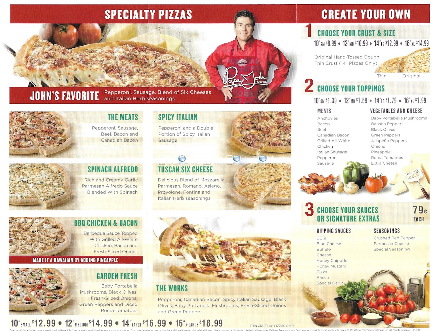 Papa Johns Menu Chicago (Scanned Menu With Prices)