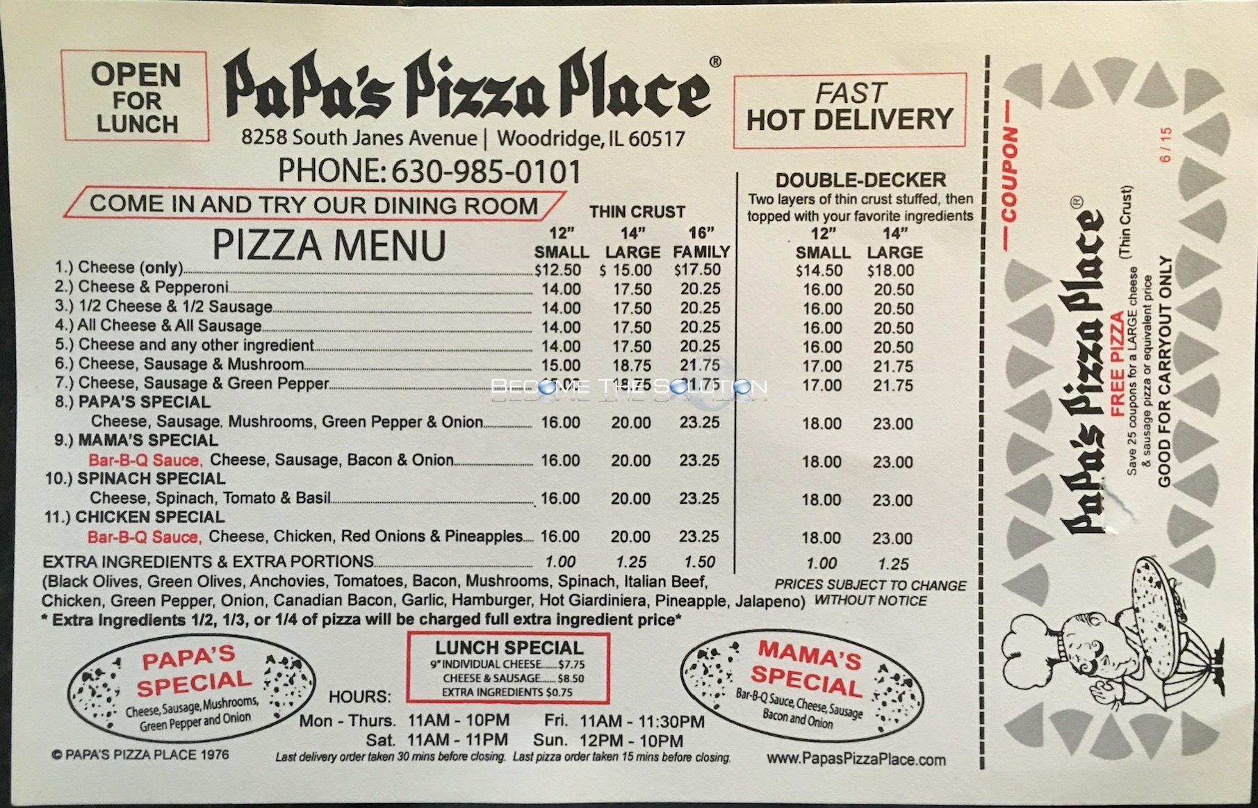 Papa's Pizza Place Menu 1