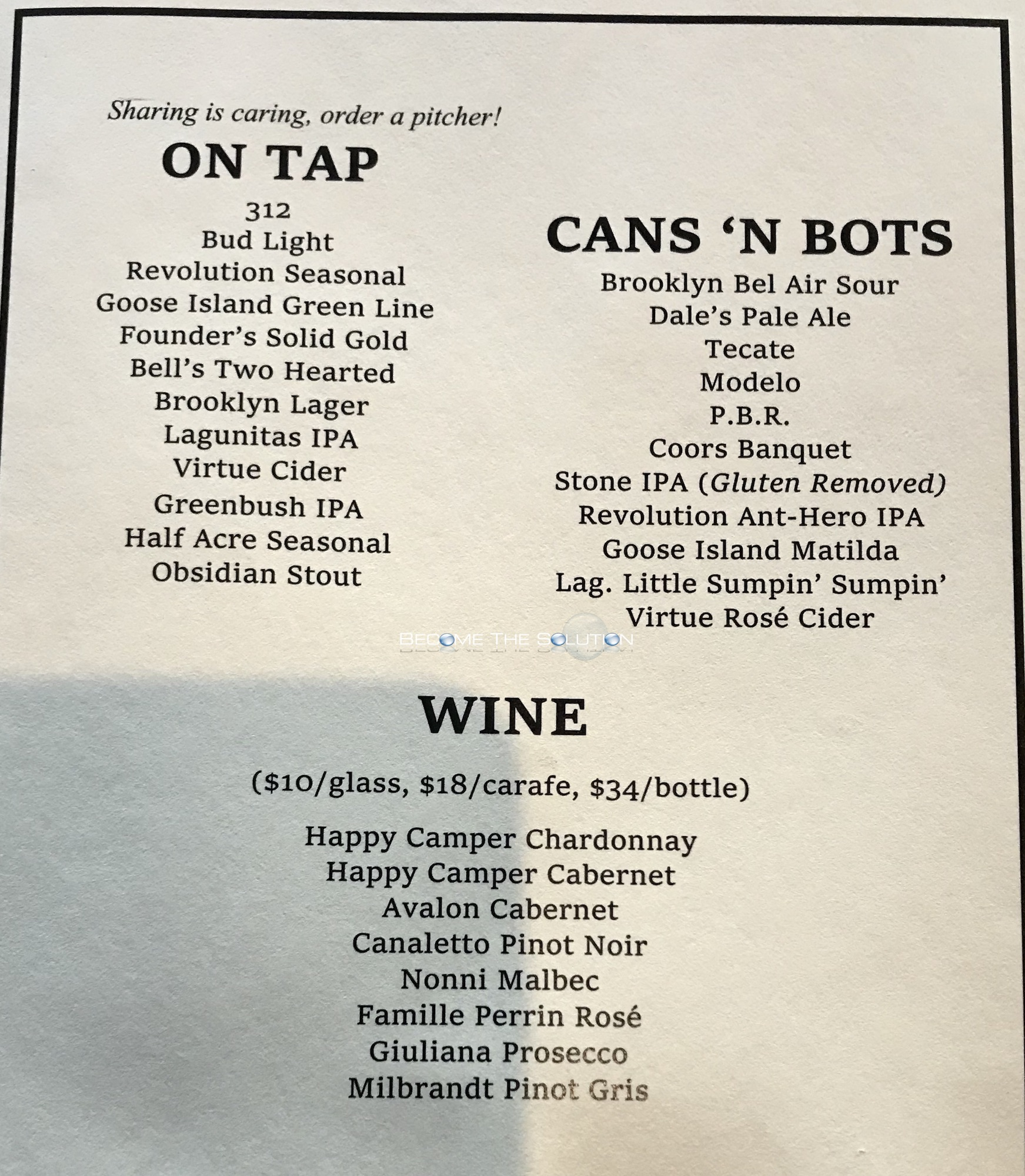 Paradise Park Chicago Menu (Scanned Menu With Prices)