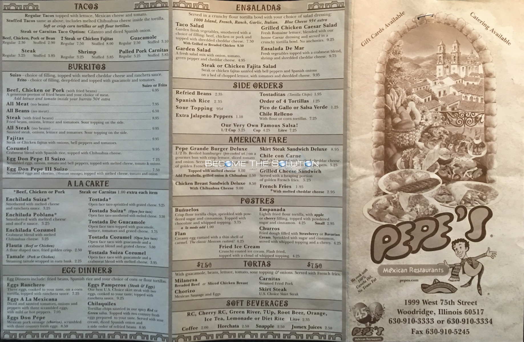 Pepe's Mexican Restaurant Chicago Menu 1