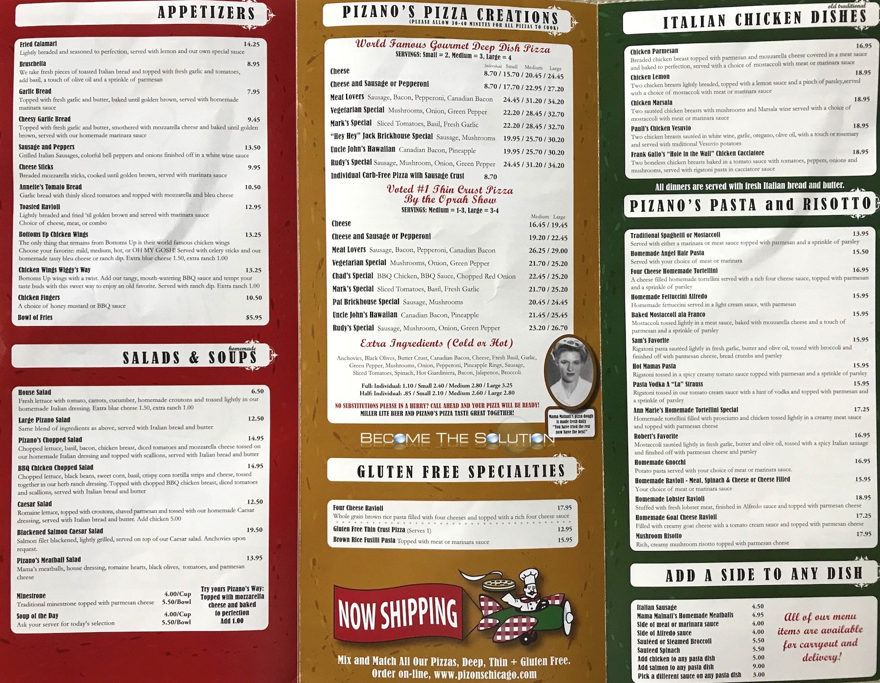 Pizano's pizza chicago menu 1