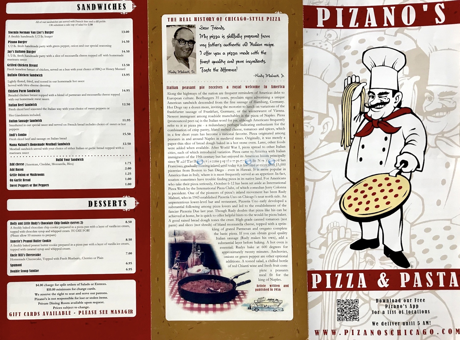 Pizano's pizza chicago menu 2