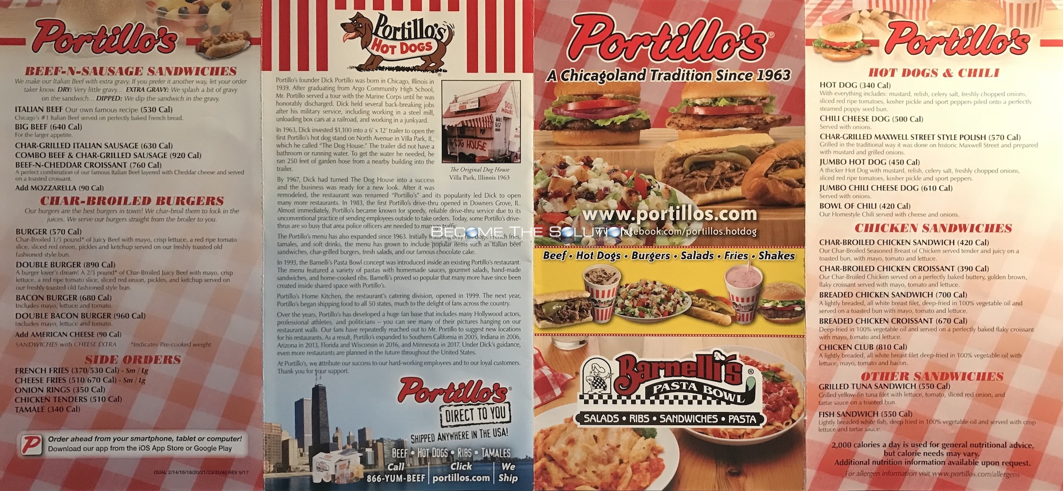 Portillo S Carry Out Menu Scanned Menu With Prices