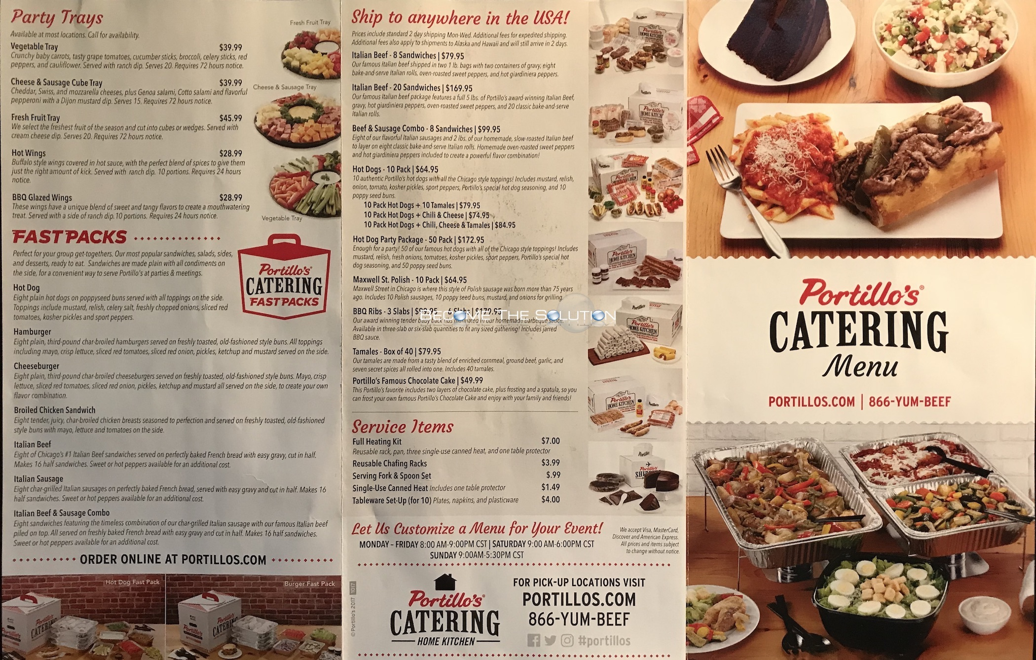 Portillo's Catering Carry Out Menu Chicago