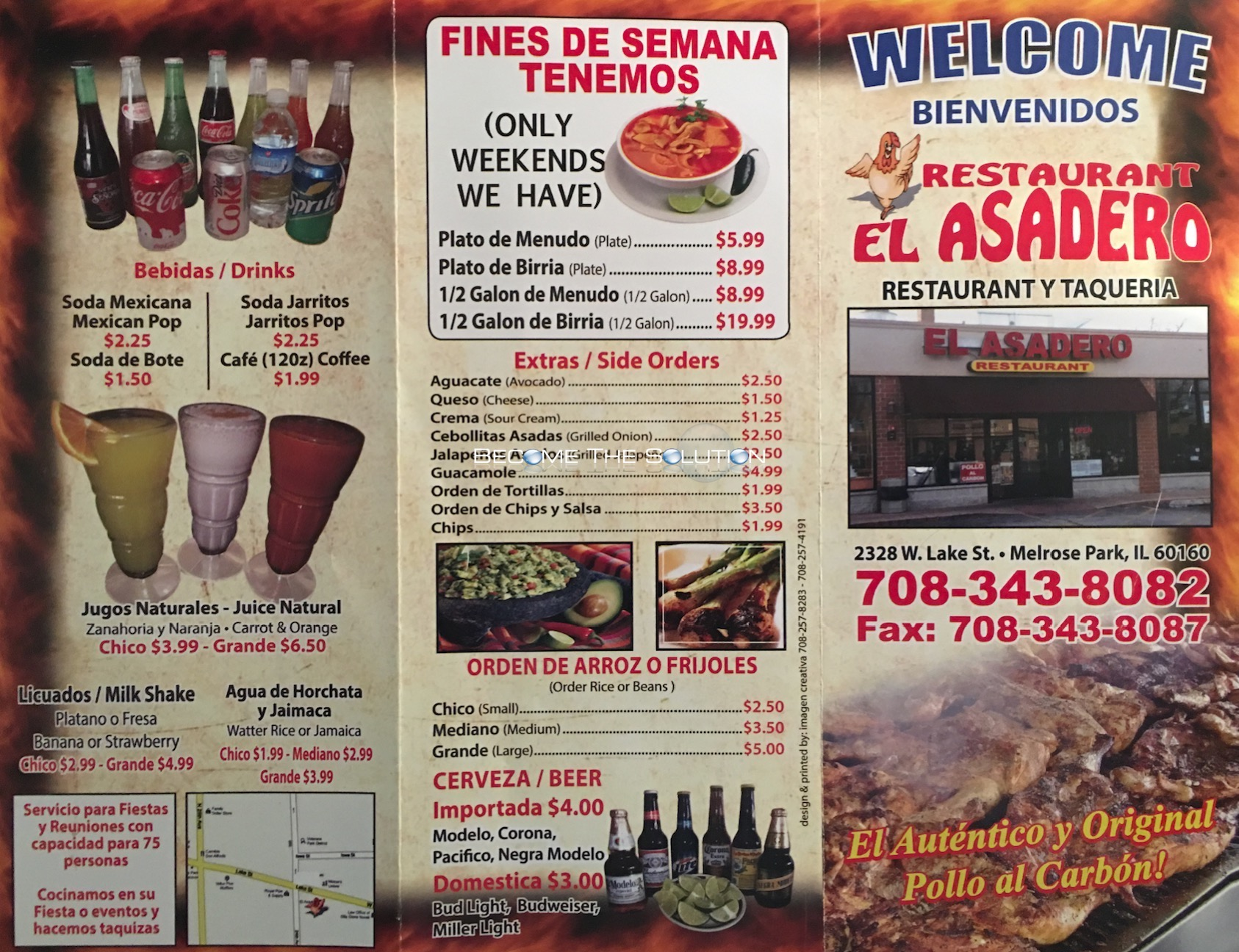 Restaurant El Asadero Carry Out Menu (Scanned Menu With ...