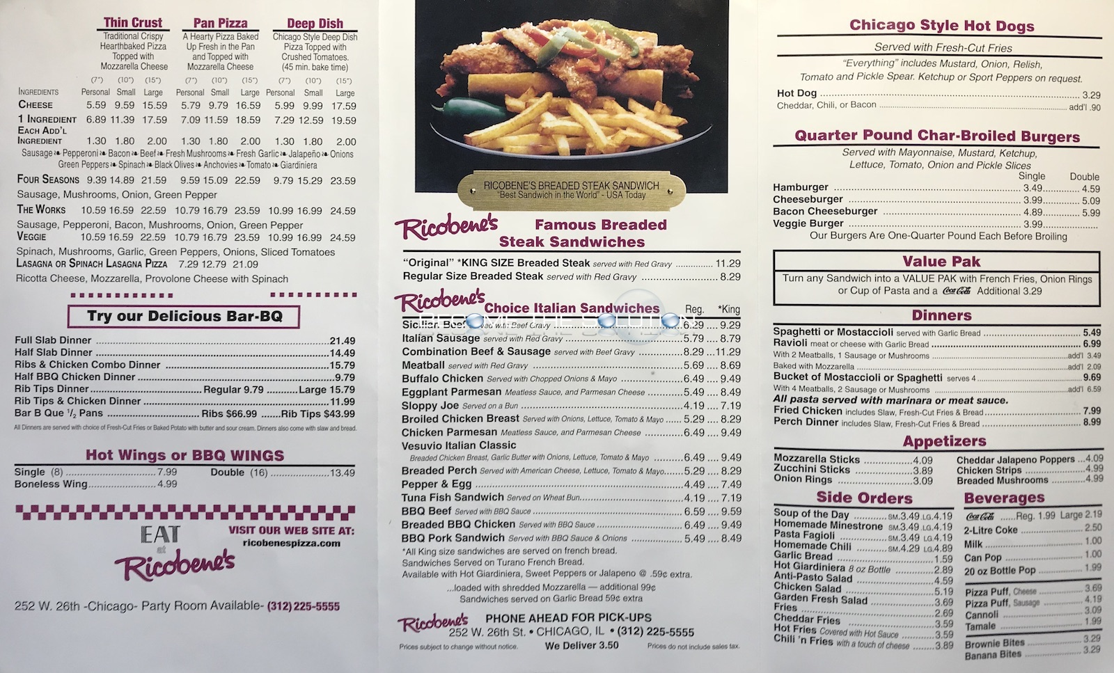 Ricobene's Chicago Menu 1