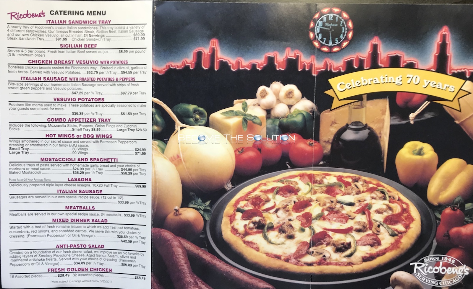 Ricobene's Chicago Menu 2