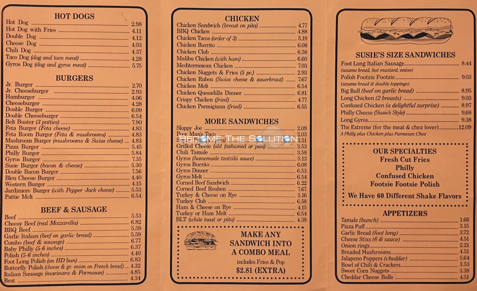 Susie 39 s drive thru carry out menu chicago for Carryout menu