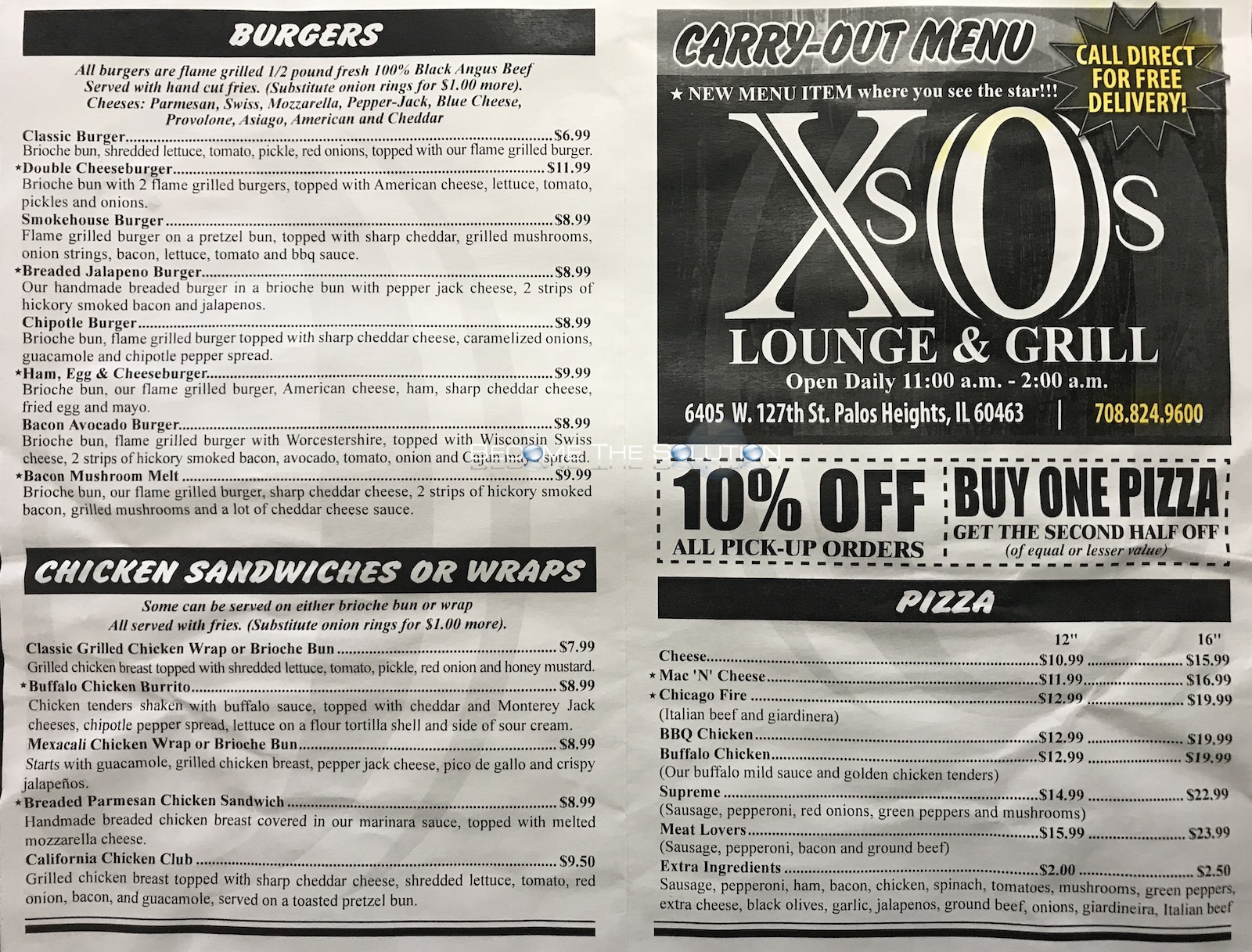 Xs and os palos heights menu 2