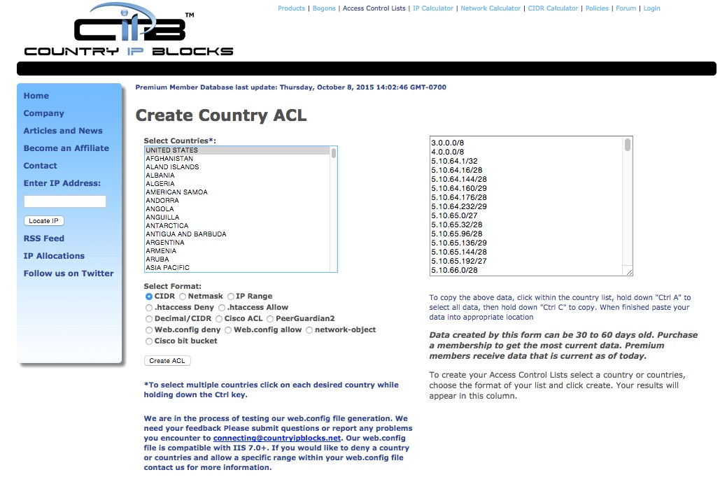 Generate Country IP Address Lists Blocks
