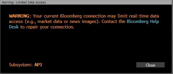 Bloomberg Terminal Error Repair Connection