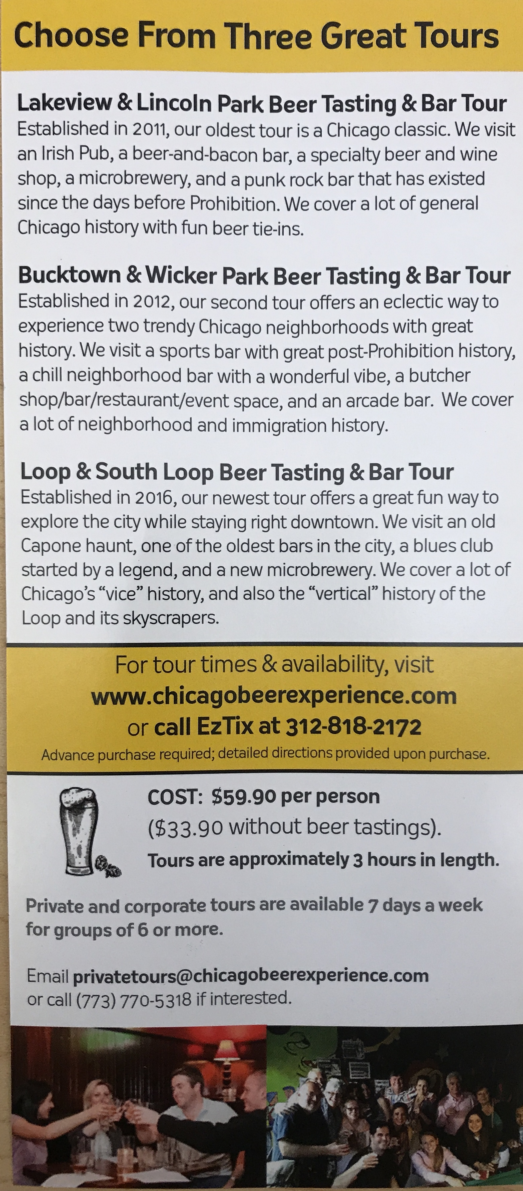 Chicago beer tours information pamphlet 1