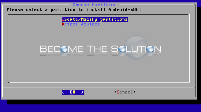 Install android virtualbox create modify partitions