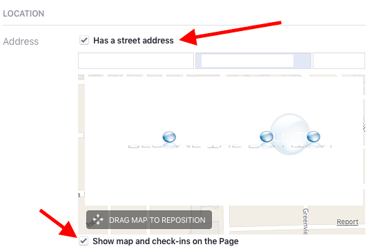 Facebook page street address show check-ins