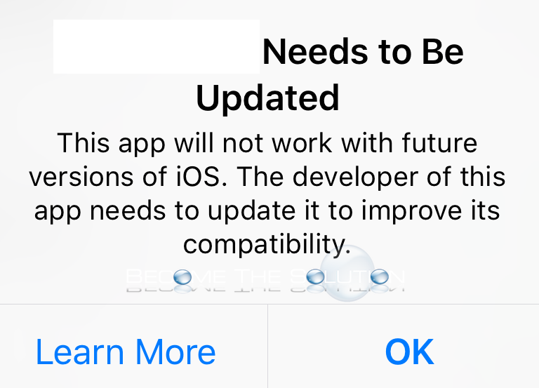 This App will not Work with Future Versions of iOS