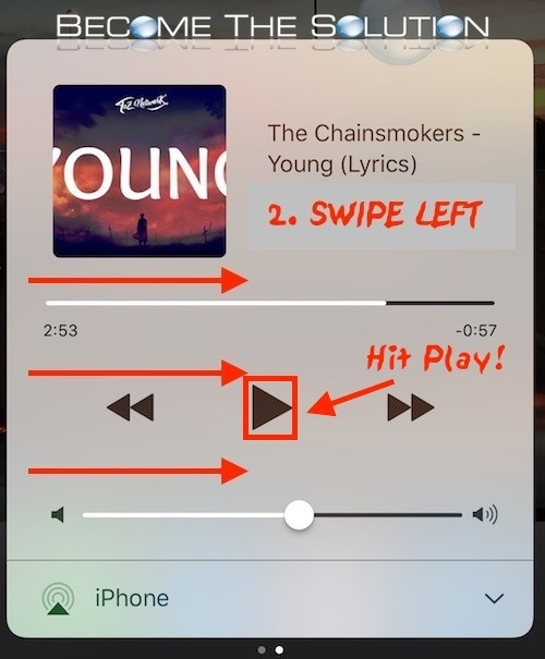 iPhone swipe left music player