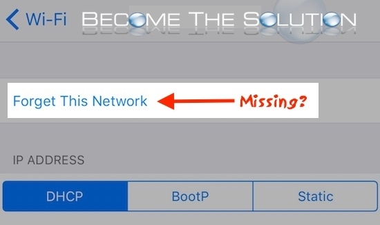 iPhone Forget Network is Missing