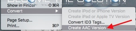 iTunes create aac version