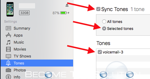 iTunes sync tones selected