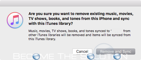 iTunes remove existing warning message