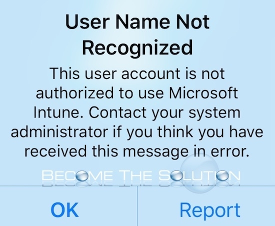 User Name Not Recognized Intune iPhone