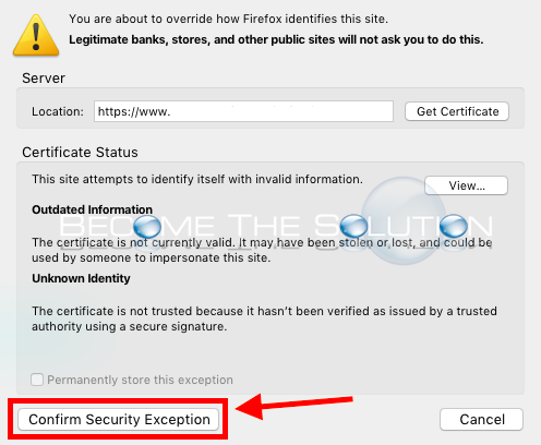 Firefox confirm security exception