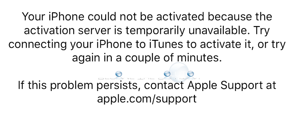 Your iPhone Could not be Activated Because the Activation Server is Temporarily Unavailable