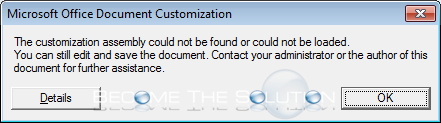 The Customization Assembly Could not be Found or Loaded Excel