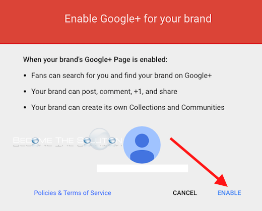 Enale google plus for brand